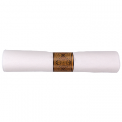 8 in x 8.5 in Pre-rolled Linen-Like CaterWrap White Napkins with Gold Hammered Cutlery 100 ct.
