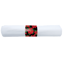 8 in x 8.5 in Pre-rolled Linen-Like Poinsettia CaterWrap White Napkins 100 ct.