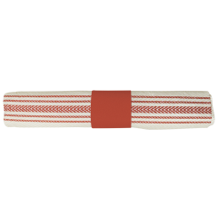 8 in x 4 in Pre-rolled CaterWrap Red Ticking Stripe Dinner Napkins with EarthWise Cutlery 100 ct.