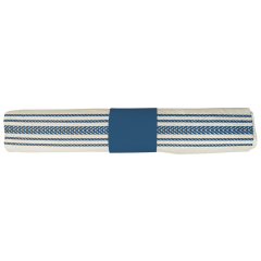8 in x 4 in Pre-rolled CaterWrap Blue Ticking Stripe Dinner Napkins with EarthWise Cutlery 100 ct.