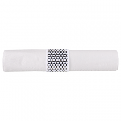 8.5 in x 4.25 in Pre-rolled CaterWrap White Napkins with Black Cutlery 100 ct.
