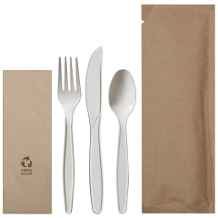 9.5 in x 3.25 in Kraft Cutlery Pouches with White Assorted Cutlery 100 ct.