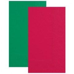 8.5 in x 4.25 in Regal Embossed Red and Green Dinner Napkins 1000 ct.