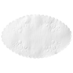 5 in x 8 in White Rose Linen Embossed Oval Doilies 1000 ct.