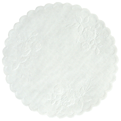 8 in White Rose Linen Embossed Doilies