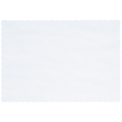 10 in x 14 in Scalloped Homespun White Paper Placemats 1000 ct.