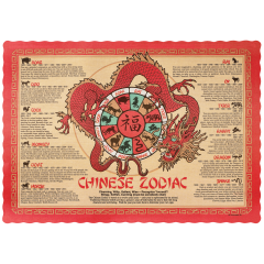 10 in x 14 in Scalloped Chinese Zodiac Paper Placemats 1000 ct.