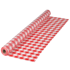 40 in x 300 ft Red Gingham Plastic Table Roll 1 ct.