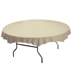 82 in Ivory Plastic Octy-Round Tablecloths 12 ct.