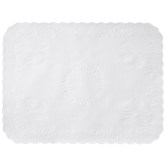 12.75 in x 16.75 in Anniversary Embossed Scalloped White Paper Traymats