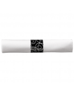 8 in x 8.5 in Pre-rolled Linen-Like CaterWrap White Napkins with Black Cutlery 100 ct.