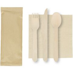 6 in x 6 in Kraft Napkins with Wood Cutlery 500 ct.