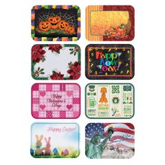 13.5 in x 18.75 in Seasonal Multipack Paper Placemats 8 Designs Combo Pack 1000 ct.