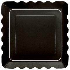 5 in x 5 in Square Black Dessert Plates 200 ct.