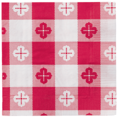 4.75 in Coin Embossed Red Gingham Beverage Napkins 1000 ct.