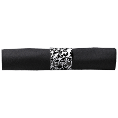 8 in x 8.5 in Pre-rolled Linen-Like CaterWrap Black Napkins with Clear Cutlery 100 ct.
