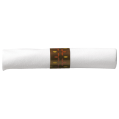 8 in x 8.5 in Pre-rolled Linen-Like CaterWrap White Napkins with Brown Cutlery 100 ct.