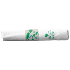 7.5 in x 4.25 in Pre-rolled Earth Wise CaterWrap White Napkin with White Cutlery 100 ct.