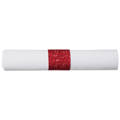 7.75 in x 7.75 in Pre-rolled FashnPoint CaterWrap White Napkins with Red Glitz Cutlery 100 ct.
