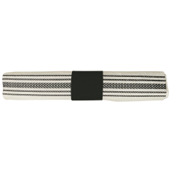 8 in x 4 in Pre-rolled CaterWrap Black Ticking Stripe Dinner Napkins with EarthWise Cutlery 100 ct.