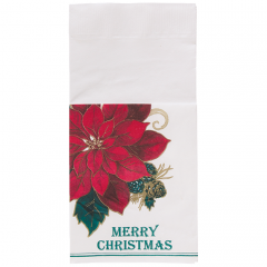8.5 in x 4.25 in Coin Embossed Traditional Poinsettia Quickset Dinner Napkins 800 ct.