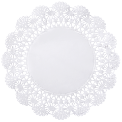 8 in White Cambridge Lace Doilies