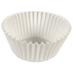 3.5 in White Fluted Baking Cups