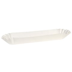 10 in White Fluted Hot Dog Trays