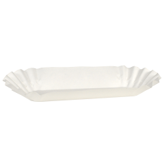 6 in White Fluted Hot Dog Trays