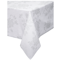82 in x 82 in Linen-Like Silver Floral Tablecloths 24 ct.