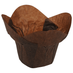 2.75 in Large Chocolate Brown Paper Lotus Cups 2500 ct.