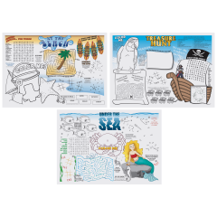10 in x 14 in Seashore Games Multipack Paper Placemats 1000 ct.