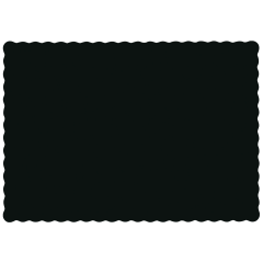 10 in x 14 in Scalloped Black Paper Placemats 1000 ct.
