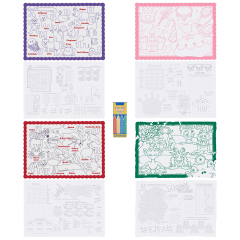10 in x 14 in Kids Placemats 4 Designs and Crayons Combo Pack 200 ct.