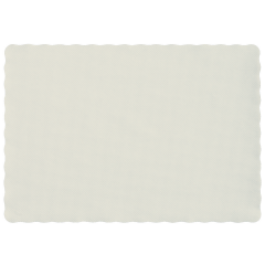 10 in x 14 in Groundwood Knurl Embossed Scalloped White Paper Placemats 1000 ct.