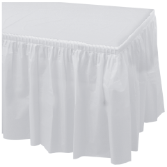 14 ft x 29 in White Plastic Tableskirts 6 ct.