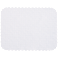 12.75 in x 16.5 in Knurl Embossed Scalloped White Paper Traymats 2000 ct.