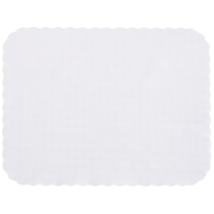 14 in x 19 in Knurl Embossed Scalloped White Paper Traymats