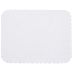 14 in x 19 in Knurl Embossed Scalloped Heavyweight White Paper Traymats 1000 ct.