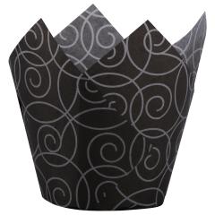3.5 in Small Silver Swirl Paper Tulip Cups 500 ct.