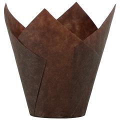 2.5 in Mini Chocolate Brown Paper Tulip Cups 1000 ct.