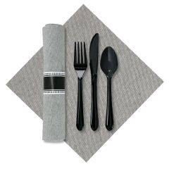7.5 in x 4.25 in Pre-rolled Linen-Like Natural CaterWrap Gray Onyx Dinner Napkins with Black Cutlery 100 ct.