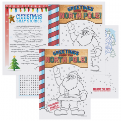 10 in x 14 in Kids' Christmas Activity Booklet Placemats 2000 ct.
