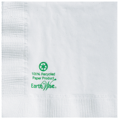 5 in Earth Wise Coin Embossed White Beverage Napkins 3000 ct.