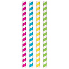 "Multicolored Striped Compostable Unwrapped Giant Paper Straws, 8-1/2"" x .50"""