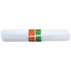 7.75 in x 7.75 in Pre-rolled FashnPoint CaterWrap White Napkins with Metallic Cutlery 100 ct.