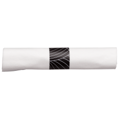 8.5 in Pre-rolled Linen-Like CaterWrap White Dinner Napkins with Black Cutlery 200 ct.