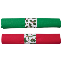 7.5 in x 4.25 in Pre-rolled CaterWrap Red and Green Napkins with Clear Cutlery 100 ct.