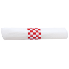7.75 in x 7.75 in Pre-rolled CaterWrap White Dinner Napkins with Red Cutlery 100 ct.