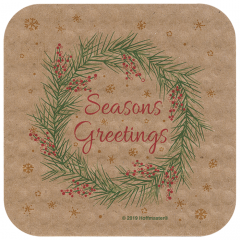 4 in Seasons Greetings Square Kraft EcoWave Coasters 1000 ct.